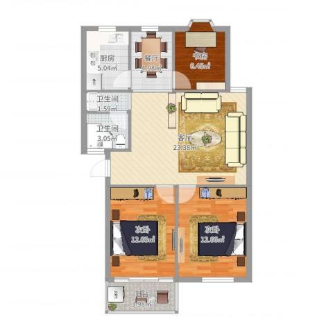 四明小区3室2厅2卫1厨73.14㎡户型图