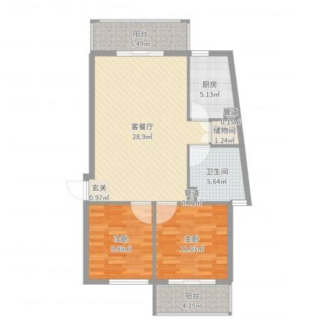 城市之光2室2厅1卫1厨90.00㎡户型图
