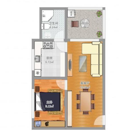 大发大厦1室2厅1卫1厨57.00㎡户型图