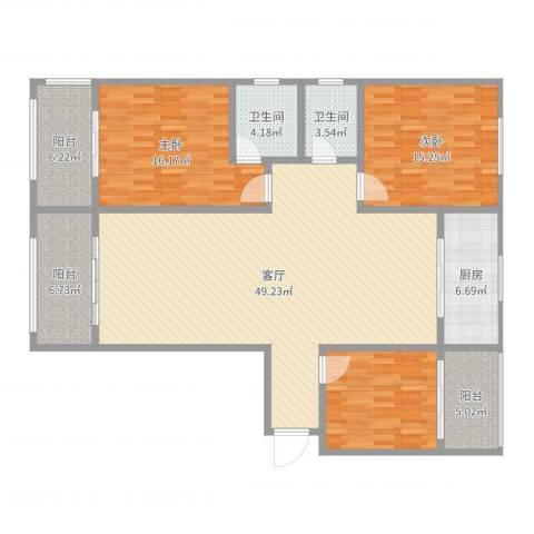 聚福园2室1厅2卫1厨154.00㎡户型图