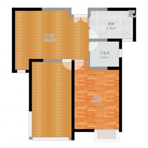 华辰丽景1室2厅1卫1厨100.00㎡户型图