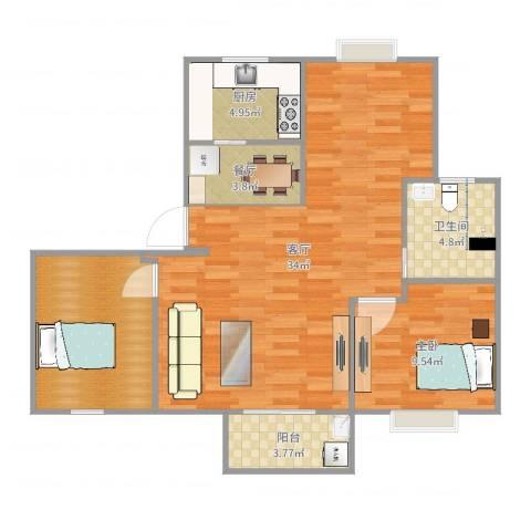 翔泰嘉苑23号25011室2厅1卫1厨89.00㎡户型图