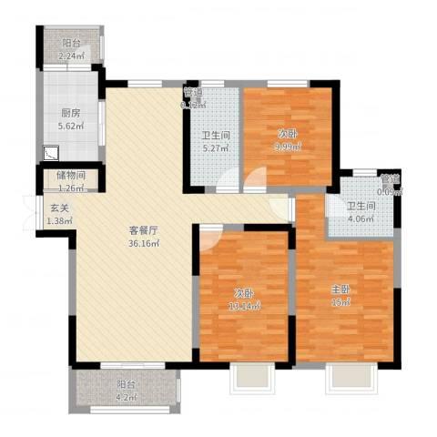 宏润花园3室2厅2卫1厨121.00㎡户型图