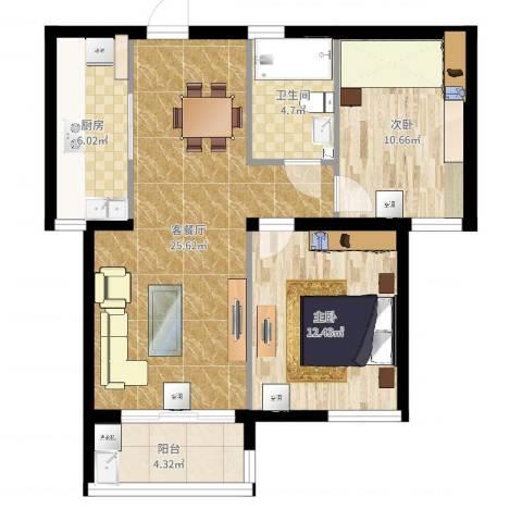 铭和苑2室2厅1卫1厨80.00㎡户型图