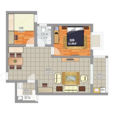 石门福地2室2厅1卫1厨78.00㎡户型图