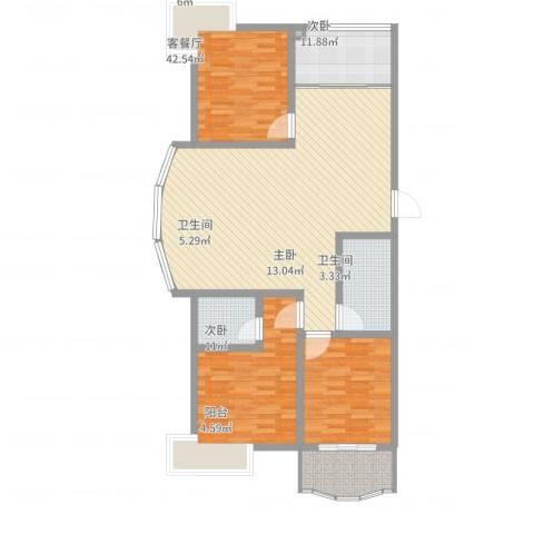 月明苑3室2厅2卫1厨139.00㎡户型图