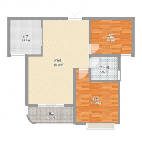 幸福天地2室2厅1卫1厨77.00㎡户型图