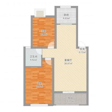 天工颐园三期2室2厅1卫1厨91.00㎡户型图