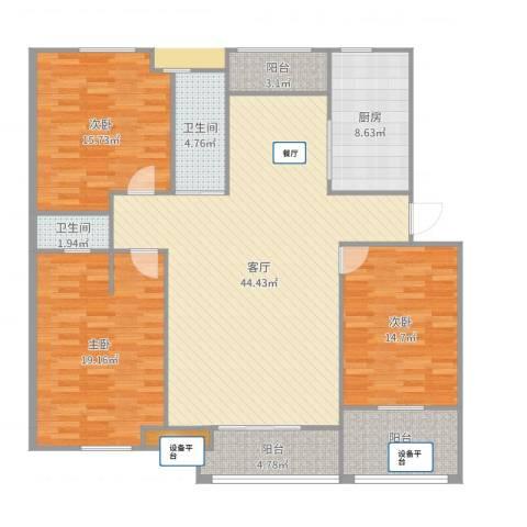 蒙城宝业梦蝶绿苑3室1厅2卫1厨155.00㎡户型图