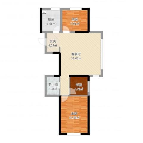 中央学府3室2厅1卫1厨84.00㎡户型图
