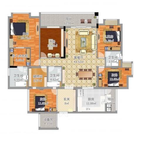 翡翠绿洲龙翔台5室2厅3卫1厨229.00㎡户型图