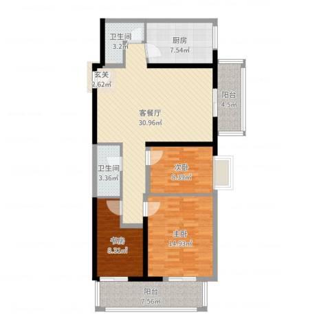 庆阳观邸东南户3室2厅2卫1厨111.00㎡户型图
