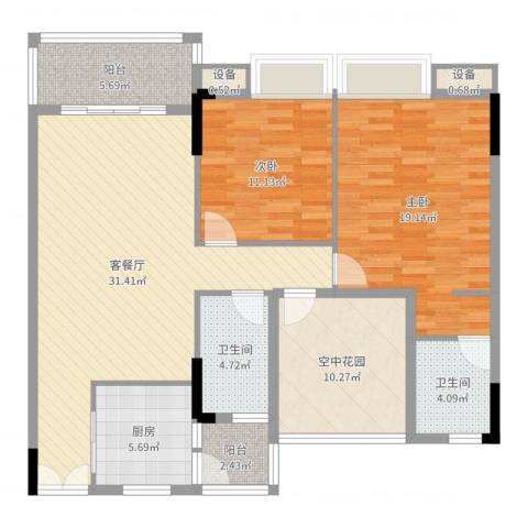 水岸珑庭2室2厅2卫1厨120.00㎡户型图