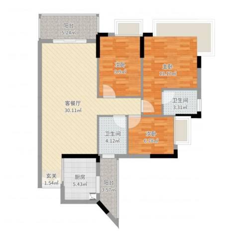 水岸珑庭3室2厅2卫1厨102.00㎡户型图