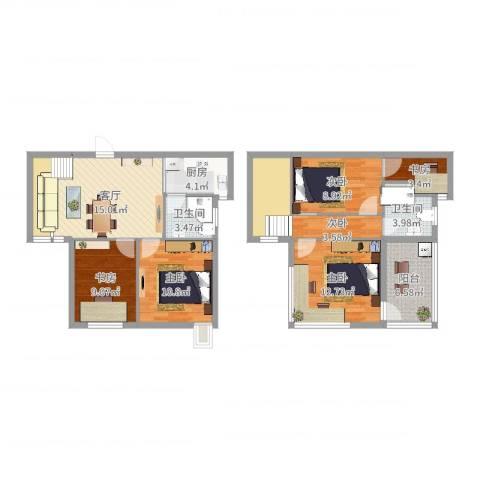 和泰雅苑6室1厅2卫1厨113.00㎡户型图