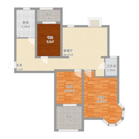 绿地.老街坊3室2厅1卫1厨116.00㎡户型图