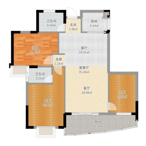 御景豪庭3室2厅2卫1厨118.00㎡户型图