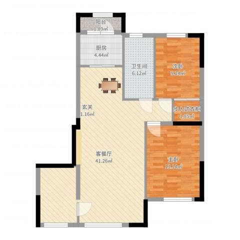 依云溪谷二期2室2厅1卫1厨97.00㎡户型图