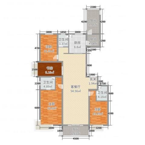 万科高新华府4室2厅3卫1厨171.00㎡户型图