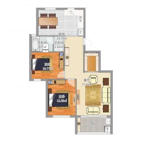 奥林802室1厅2卫1厨100.00㎡户型图