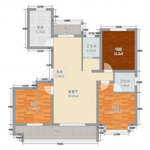 九源・书香园3室2厅2卫1厨151.00㎡户型图