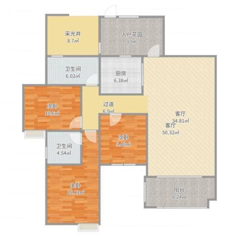 世纪城龙泽苑3室1厅2卫1厨135.00㎡户型图