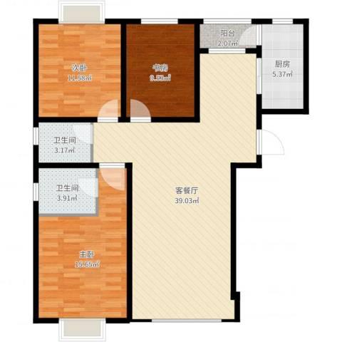 伯爵源筑3室2厅2卫1厨113.00㎡户型图