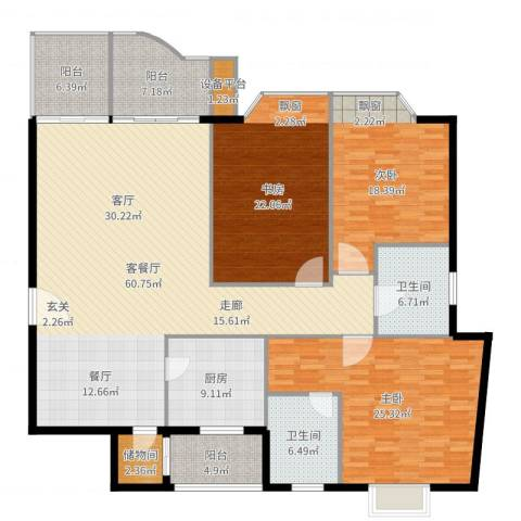 东湖花园3室2厅2卫1厨214.00㎡户型图