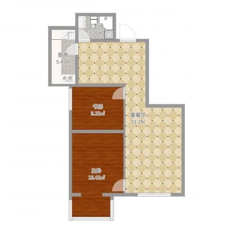 兆丰园一区(秀蝶双座)2室2厅1卫1厨85.00㎡户型图