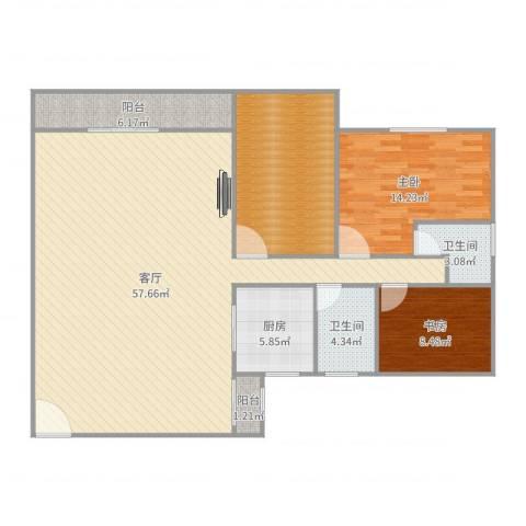 天明豪庭2室1厅2卫1厨144.00㎡户型图