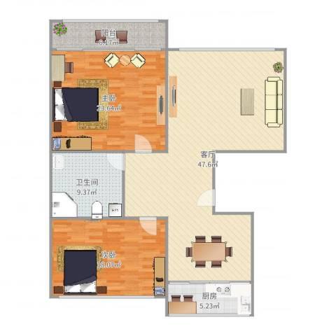 白鹤花苑2室1厅1卫1厨138.00㎡户型图