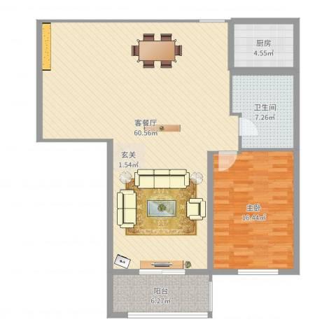 春江明月1室2厅1卫1厨119.00㎡户型图