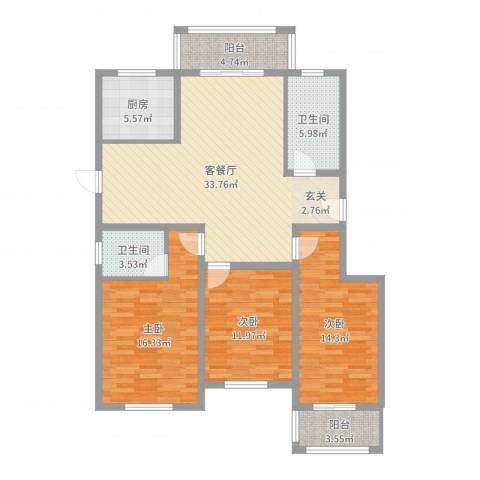 银泰花园3室2厅2卫1厨125.00㎡户型图