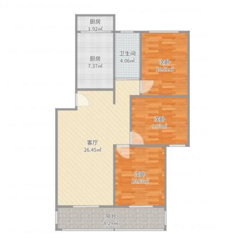 凤凰西街小区2室1厅1卫1厨99.00㎡户型图