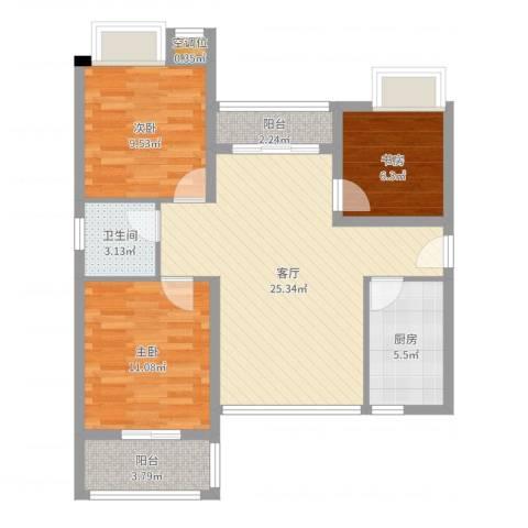 九江中航城3室1厅1卫1厨84.00㎡户型图