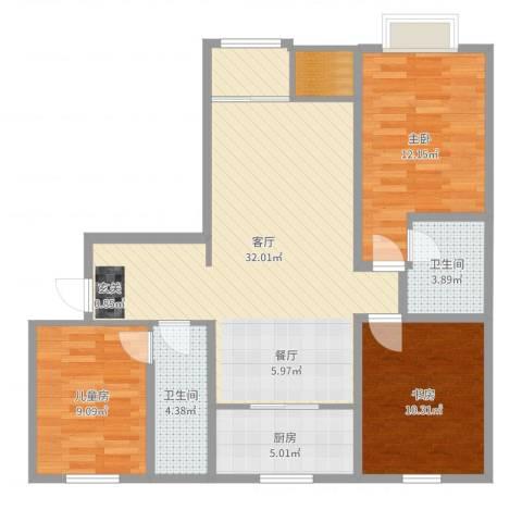 泰和世家3室1厅2卫1厨98.00㎡户型图