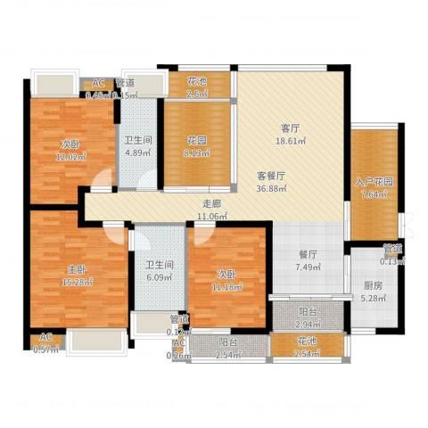 中海胥江府3室2厅2卫1厨150.00㎡户型图