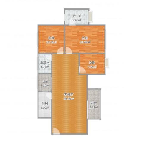 愉景南苑3室2厅2卫1厨122.00㎡户型图