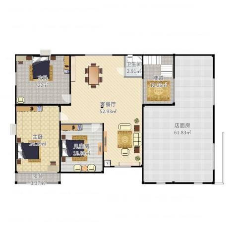 振华别墅3室2厅1卫2厨246.00㎡户型图