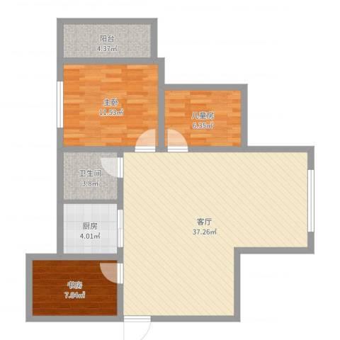 临湖社区3室1厅1卫1厨93.00㎡户型图
