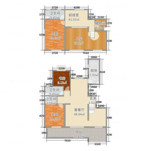 弘润金茂府3室2厅3卫1厨188.00㎡户型图