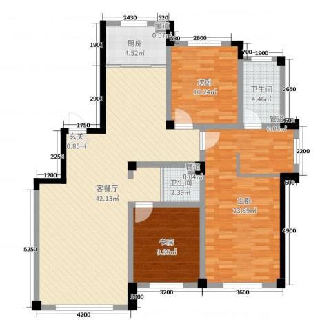 上东城市之光3室2厅2卫1厨138.00㎡户型图