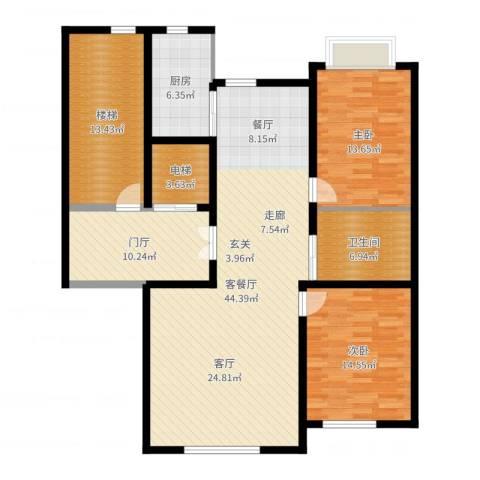 实华・金域蓝湾2室2厅1卫1厨141.00㎡户型图