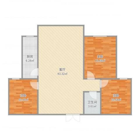 翠海明筑3室1厅1卫1厨110.00㎡户型图