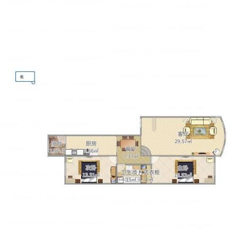 荣耀天地2室2厅1卫1厨108.00㎡户型图