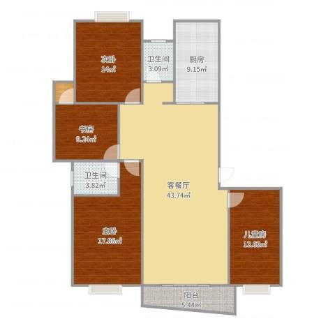 麓谷E家人4室2厅2卫1厨119.89㎡户型图