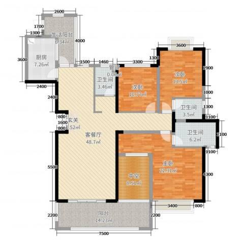 中建江山壹号3室2厅3卫1厨196.00㎡户型图