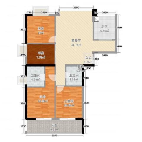 富闽时代广场4室2厅2卫1厨123.00㎡户型图