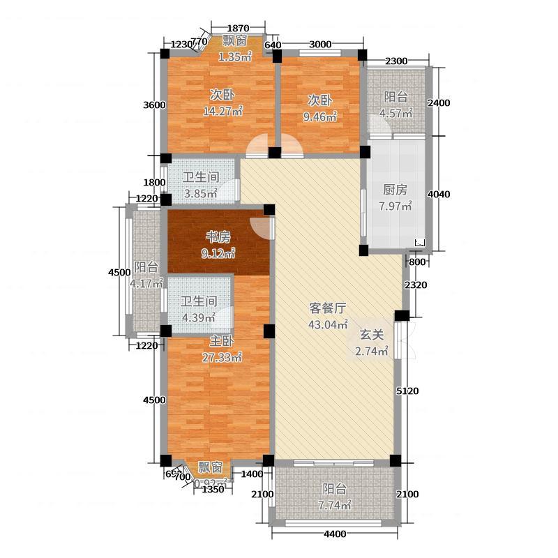 国信凤起新都142.92㎡53#楼54#楼A户型3室3厅2卫1厨