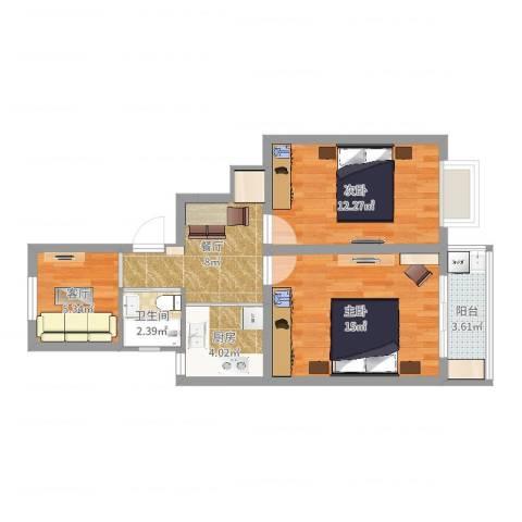 殷行二村30号502室2室2厅1卫1厨63.00㎡户型图
